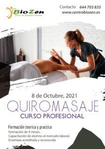 Matricula abierta para el Curso de Quiromasaje 2021-2022 en San Fernando Cádiz